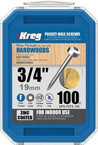 KREG Vis de poche SPS-F075-100, 3/4″ #6 filetage fin, tête cylindrique (100 pièces), zinc