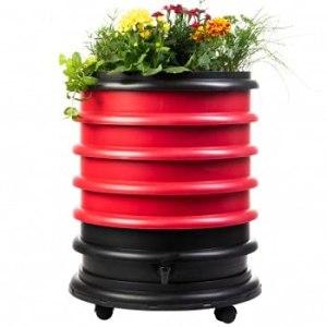 Lombricomposteur WormBox 3 Plateaux Rouge et jardinière – 56 litres – Recyclez Vos déchets organiques en Engrais pour Vos Plantes