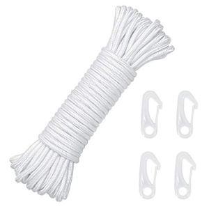 LOPOTIN 15m Corde de Drapeau en Nylon, Corde de Drisse Corde à Linge en Nylon Rechange Blanc avec 4 Clips Crochets Suspendre pour Vêtement Drapeau Décoration