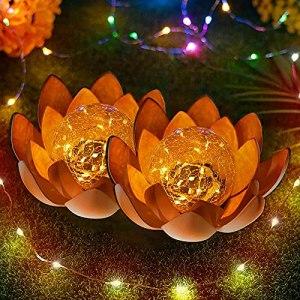 Lot de 2 lampes solaires à LED en forme de fleur de lotus – Lampes décoratives pour jardin, clôture, chemin (A-2pcs)