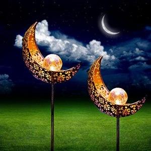 Lot de 2 lampes solaires en forme de lune – Décoration de jardin en extérieur – Lampes solaires à LED – Pour cour, pelouse, allée, clôture de jardin