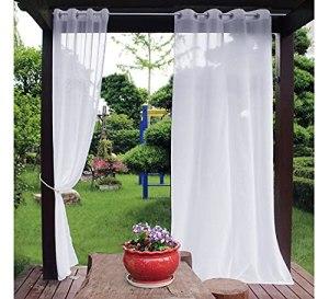 Lot de 2 voilages blancs pour extérieur et intérieur – Pour terrasse, jardin, porche, terrasse, pergola, rideaux à œillets – 132 x 213,4 cm