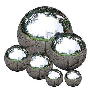 Lot de 6 Jardin Mirror Ball en acier inoxydable Gazing boule réfléchissante Jardin Sphère Balles étang Floating Piscine couverte Etang Décor Jardin aquatique de la
