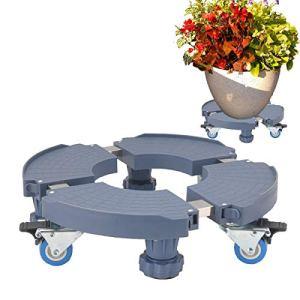 LVLING Support de Pot de Fleur avec Roues Robustes Amovible Porte Plantes à roulettes Plateau Rond à roulettes Taille Ajustable 38-51 cm pour intérieur extérieur Maison & Jardin Capacité de 275 kg