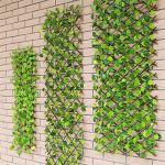 Lynnielin Artificielle Clôture Feuillage Balcon Protection, Clôture en Treillis en Expansion, clôture rétractable, clôture de Plantes de Jardin Artificiel,Clôture Pare-Vue Feuillage pour Balcon (A)