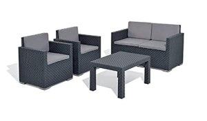 MaxxGarden Meubles d'extérieur en rotin, mobilier de Jardin pour 4 Personnes, Ensemble de Jardin avec canapé et Table à Manger (4 Personnes, Noir 2)