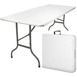 MaxxGarden Table Pliante de Camping Jardin BBQ Barbecue Pique-Nique 180 x 70 x 74 cm – Blanc cassé