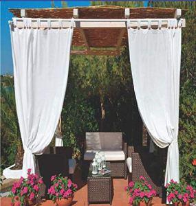 Megashopitalia Rideau de soleil pour tonnelle Pergola Veranda imperméable anti-moisissure résine hydrofuge 140 x 270 cm (Blanc)