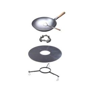 Moesta BBQ 19443 Set wok 5 pièces avec disque BBQ, plateau de hauteur, couronne wok, wok en acier et cuillère en acier inoxydable
