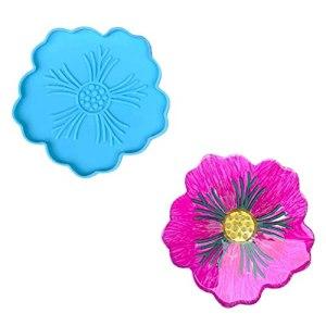 Moules de Dessous de Verre Silicone Silicone Moule 3D Coaster Moule Fleur en Forme de Moule pour Bricolage Artisanat Maison Table décoration Fleur de Cerisier, Tournesol