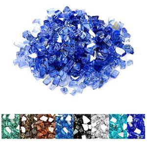 onlyfire Verre trempé réfléchissant de 4,5 kg pour foyer naturel ou propane et aménagement paysager, 0,6 cm de haut, bleu cobalt