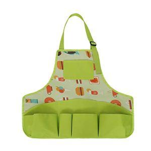 PinkSally Tablier de Jardinage Femme Tablier Jardinier avec 8 Poches Tablier de Travail en Oxford 600D Tablier de Protection Réglable pour Outils de Jardin (Vert-Style B)