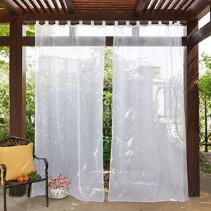 PONY DANCE Rideaux Voilage d'Extérieur – L 137 x H 213 cm, Blanc Rideau Tulle à Pattes, Draperies avec Embrasse Décoration de Terrasse Maison, 1 Panneau