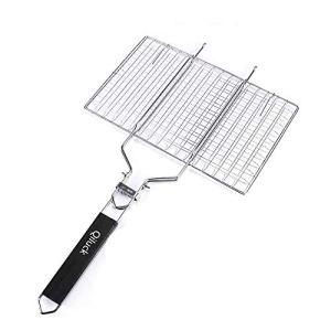 Qiluck griller Panier, portable et 430 en acier inoxydable pour barbecue grill Panier rôti pour poisson, légumes, à steak, crevettes avec poignée amovible en bois et sac de transport facile 32x 22cm