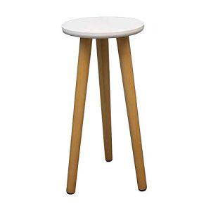 QLINDGK Support de plante en bois du milieu du siècle – Petite table d'appoint moderne pour pot de fleurs – 45 cm de haut – Décoration d'intérieur – Blanc