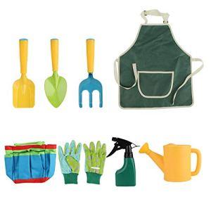 QPY Outils de Jardinage pour Enfants,Jouet de Jardin Enfant avec Arrosoir, Gants, Râteau, Pelle, Outils de Jardin Kit pour Enfant Cadeau pour Bébé Préscolaire