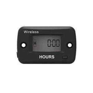 Runleader Compteur horaire numérique sans fil , vibrations activées, rappel de maintenance, minuterie de travail réinitialisable, utilisation pour le moteur de tondeuse à gazon Générateur
