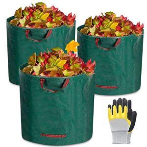 Sacs de Jardin,3*272L Sacs à Déchets de Jardin,Sacs Poubelle pour Les Déchets de Jardin Feuillage de Pelouse Vert Coupe -Réutilisable,1 Paire de Gants de Jardinage