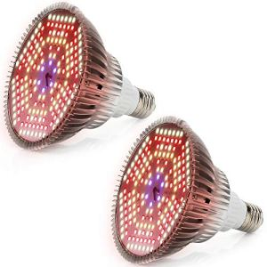 SINJIAlight [Pack de 2] 120 W Lampe de croissance pour plantes d'intérieur avec 180 LED pour plantes hydroponiques Garden Flowers Veg Growing E26/E27 (mise à jour 100 W)