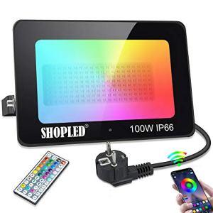 Spot LED Exterieur, SHOPLED Projecteur LED Puissant 100w Couleur RGB Eclairage Interieur, Bluetooth avec Télécommande, IP66 Etanche Lampe Éclairage pour Terrasse Et Patio, Jardin, Cour