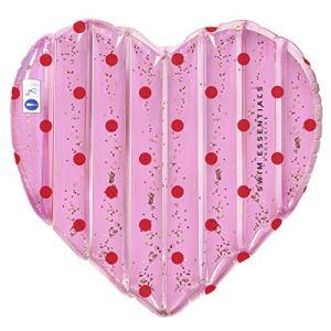 Swim Essentials – Matelas gonflable en forme de cœur, pois roses avec paillettes (Roze met paillettes)