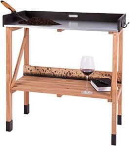 Table de plantation en bois de cerisier résistant aux intempéries pour jardins balcons, grande table jardinage avec plan de travail galvanisé l'extérieur, 85 x 45 x 92 cm, brun foncé-noir