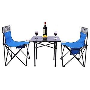 Table Et Chaises Pliantes en Plein Air, Table De Pique-Nique Et Chaises De Camping Portables Tabourets pour Cuisinières De Fête Barbecue De Jardin en Plein Air,Blue Set 3