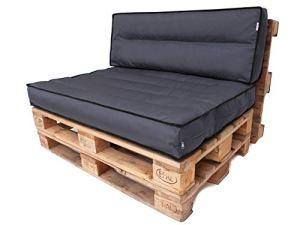 Tom Coussin palette, imperméable, confortable, meubles de jardin – 120×80 + 120×40 – Gris