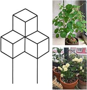 Treillis de jardin en métal, support hexagonal pour plantes grimpantes pour intérieur ou extérieur, support pour fleurs, légumes, vignes (45 x 30 cm, 1 pièce)