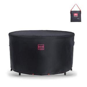 Turtle Life Housse de Protection pour Table et chaises Rondes, Durable, résistante à l'eau, pour Meubles d'extérieur et d'intérieur avec Grille d'aération améliorée, Noire, diamètre205x89cm
