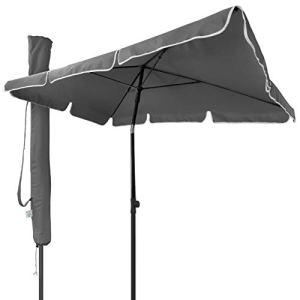 VOUNOT Parasol Inclinable Rectangulaire 200x125cm 160gr/m2 avec Protection UV Hauteur 2m35 Toile Polyester Parasol Pliable pour Extérieur Inclus Housse de Protection Gris