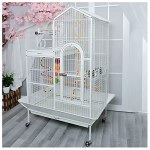 wanhaishop Cage à Oiseaux Grande Villa de Style Toit Cage d'oiseau en métal Cage Cage Cage Cockatoo Peroclet Cage Châssis Mobile et Stand interactif Birdcage (Color : White)