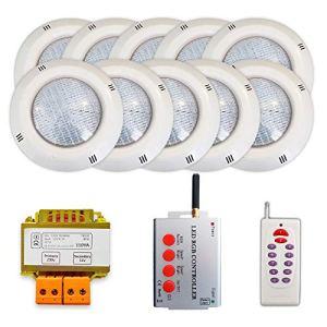 WARMPOOL Pack 10 projecteurs LED RGB + Synchroniseur de télécommande + Transformateur de sécurité (10 projecteurs)