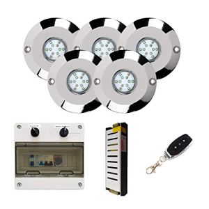 Warmpool Pack Spot en acier inoxydable AISI 316L Lumière blanche de 60 W Puissance maximale pour piscine + Télécommande + Transformateur + Armoire à manœuvres 5 Focos