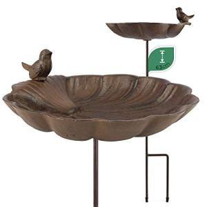 WILDLIFE FRIEND Bain d'Oiseaux sur Pied, Abreuvoir Mangeoire pour Oiseaux – Résistant aux Intempéries – Bain d'Oiseaux – Bains pour Oiseaux Sauvages