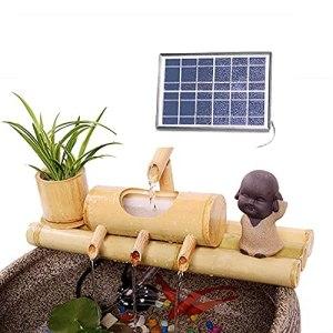 WYDM Fontaine d'eau Solaire, Fontaine en Bambou, décor de Fontaine en Bambou, avec Pompe Solaire, fontaines d'extérieur, Fontaine en Bambou, 35 cm