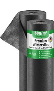 Xabian Non-tissé d'hiver 50 m² (50 m x 1 m) Rouleau de 50 g/m² Protection contre le gel pour plantes Noir – Très haute résistance aux UV – Protection idéale pour l'hiver pour les plantes