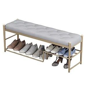 XIAOQIAO Banc à Chaussures Support à Chaussures à Cadre en Métal avec Siège Rembourré en PU Confortable et Respirant pour Entrée, Salon, Chambre à Coucher