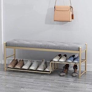 XIAOQIAO Banc de Rangement pour Chaussures à Cadre en Métal avec Coussin Doux, Confortable et Respirant de Grande Capacité, pour Entrée, Salon, Chambre à Coucher