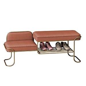XIAOQIAO Banc de Rangement pour Chaussures à Cadre en Métal avec Siège à 2 Coussins pour Entrée, Salon, Chambre à Coucher, Assemblage Facile, 80 x 40 x 42 cm