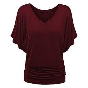 XYJD Pull DéContracté à Col en V pour Femmes Printemps Et éTé, Couleur Unie, T-Shirt à Manches Courtes De Grande Taille, Haut pour Femmes