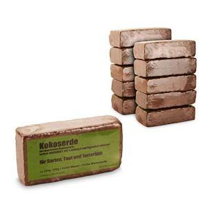 yayago Lot de 10 briques d'humus – 90 litres de terreau pressé en fibres de coco – Sans tourbe, non engrais – 100 % naturel et biodégradable – Pour jardin, pot et terrarium – 10 x env. 650 g