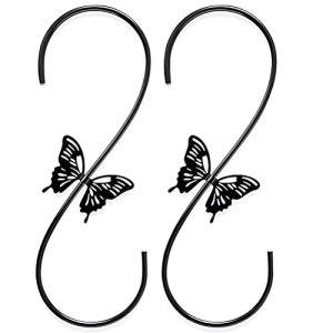 Yolluu Mangeoires à oiseaux – Crochet en forme de S en acier avec motif papillon pour suspendre les plantes, carillons, clôture, patio – Crochet pour suspendre les plantes