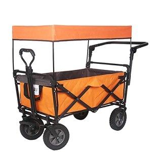 Yongqin Yongqin Chariot de pique-nique pliable en métal Chariot de courses Portable Grand flux Pique-nique de supermarché Pêche en plein air avec un toit, remorque stable à quatre roues D