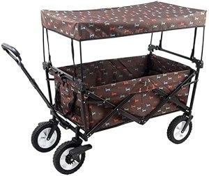 Yongqin Yongqin Chariot de pique-nique pliable robuste avec auvent amovible, chariot de transport utilitaire avec poignée de traction pour l'extérieur