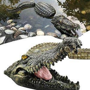 ZURITI déCor d'eau De Crocodile De Simulation, Sculpture De Piscine en Faux Alligator Flottant en 3 Parties, Faux déCor d'eau De Flotteur De Piscine D'alligator, pour Ornement De Bassin ExtéRieur