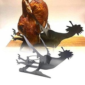 1 grille à rôtir portable en forme de poulet, de dinde, en acier inoxydable, pour grill, fumoir, four, barbecue