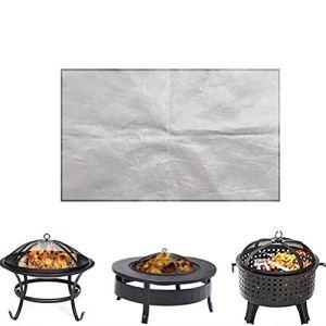1 tapis de protection pour brasero – Accessoires d'extérieur – Tapis ignifuge pour camping, terrasse, jardin, terrasse, pelouse, ecru, 60*80cm
