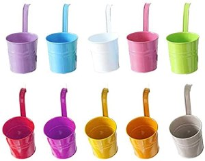 10 Pots de Fleurs Métal à Suspendre, Pot Fleur Coloré Extérieur, Support Pot de Fleur Balcon, Crochet Movible en Métal avec Trou de Drainage, pour Une Clôture ou Un Jardiniere Balcon