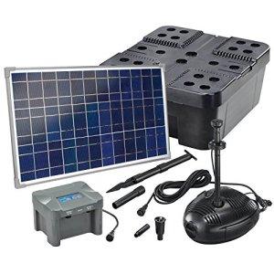 101074 Kit de filtre solaire professionnel pour bassin 1300 l/h avec batterie et éclairage LED 35 W Module solaire complet jusqu'à 4000 l
